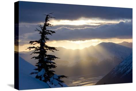 Sun Rays Shinning Through Clouds at Sunset Along Turnagain Arm W-Design Pics Inc-Stretched Canvas Print