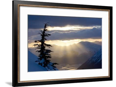 Sun Rays Shinning Through Clouds at Sunset Along Turnagain Arm W-Design Pics Inc-Framed Art Print