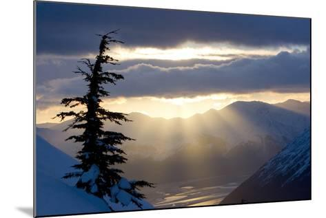 Sun Rays Shinning Through Clouds at Sunset Along Turnagain Arm W-Design Pics Inc-Mounted Photographic Print