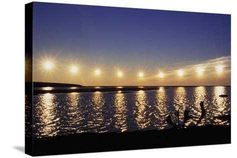 Multiple Exposure of Arctic Midnight Sun Moving across Horizon over Arctic Coast Anwr W-Design Pics Inc-Stretched Canvas Print