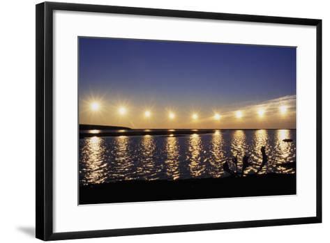 Multiple Exposure of Arctic Midnight Sun Moving across Horizon over Arctic Coast Anwr W-Design Pics Inc-Framed Art Print