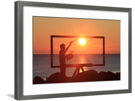 A Sculpture of an Artist Painting in New Castle, New Hampshire Frames the Sunrise-Robbie George-Framed Art Print