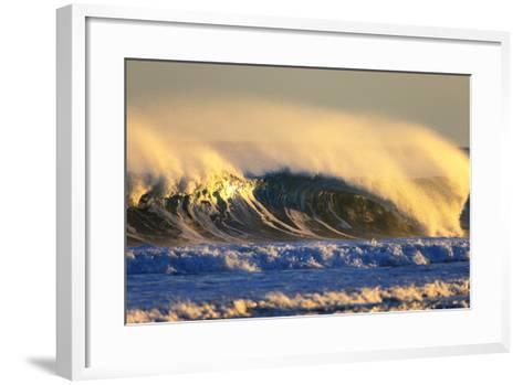 Late Afternoon Light Illuminates a Winter Wave Off the Coast of Maine-Robbie George-Framed Art Print