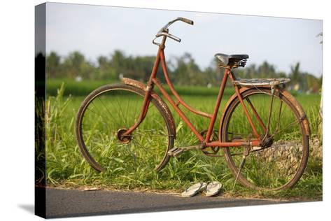 Indonesia, Bali, Ubud, Vintage Bike in Front of Rice Fields-Design Pics Inc-Stretched Canvas Print