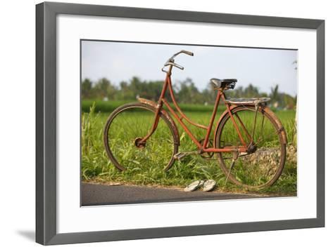 Indonesia, Bali, Ubud, Vintage Bike in Front of Rice Fields-Design Pics Inc-Framed Art Print