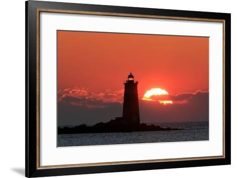 The Sun Rises Behind Whaleback Light Offshore from Kittery, Maine-Robbie George-Framed Art Print
