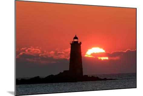 The Sun Rises Behind Whaleback Light Offshore from Kittery, Maine-Robbie George-Mounted Photographic Print