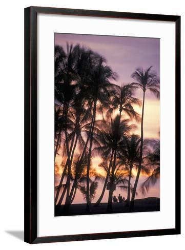 Palm Trees and a Couple in Beach Chairs at Sunset at Anaehoomalu Bay-Design Pics Inc-Framed Art Print