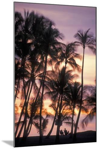 Palm Trees and a Couple in Beach Chairs at Sunset at Anaehoomalu Bay-Design Pics Inc-Mounted Photographic Print