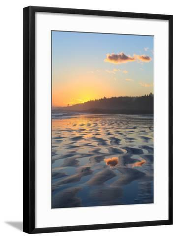 Sunset Colors Reflect onto Maine's Higgins Beach in Wintertime-Robbie George-Framed Art Print