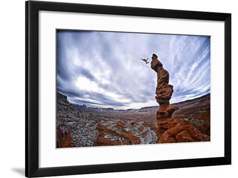 Two People Base Jump from Ancient Art at Fisher Towers-Keith Ladzinski-Framed Art Print