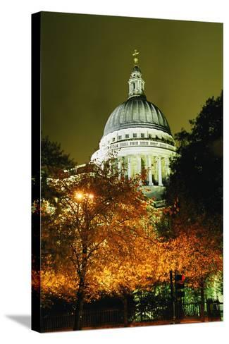 St Paul's Cathedral at Night with Trees-Design Pics Inc-Stretched Canvas Print