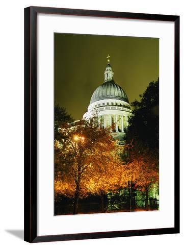 St Paul's Cathedral at Night with Trees-Design Pics Inc-Framed Art Print