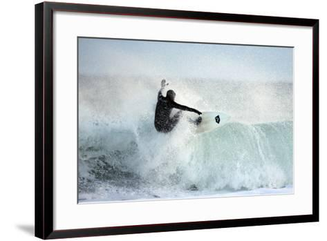A Surfer Rides a Winter Wave Off the Coast of Maine-Robbie George-Framed Art Print