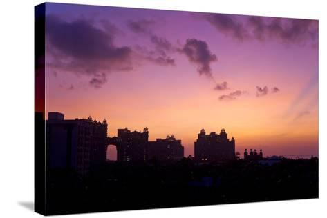 Atlantis Resort in Silhouette During a Purple Sunset-Mike Theiss-Stretched Canvas Print