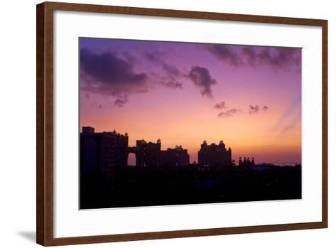 Atlantis Resort in Silhouette During a Purple Sunset-Mike Theiss-Framed Art Print