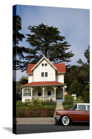 A Classic Car Parked Outside of Old Army Housing in the Presidio National Park of San Francisco-Krista Rossow-Stretched Canvas Print