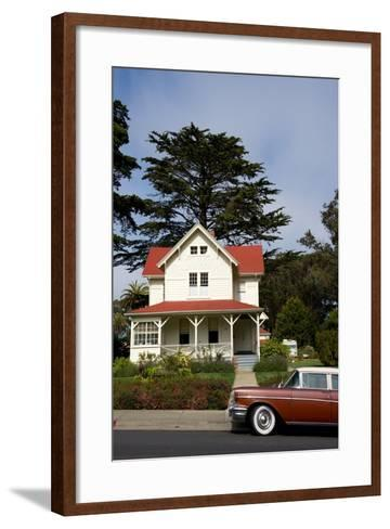 A Classic Car Parked Outside of Old Army Housing in the Presidio National Park of San Francisco-Krista Rossow-Framed Art Print