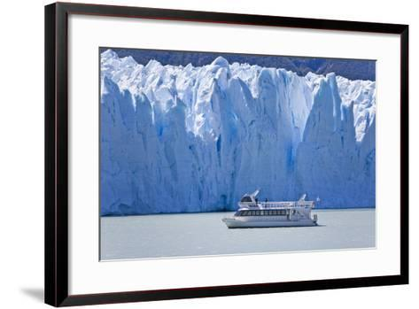 Tourist in a Boat Close to Perito Moreno Glacier Hope to Witness Calving-Mike Theiss-Framed Art Print