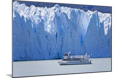 Tourist in a Boat Close to Perito Moreno Glacier Hope to Witness Calving-Mike Theiss-Mounted Photographic Print