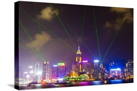 The Symphony of Lights Light and Laser Show over Hong Kong-Mike Theiss-Stretched Canvas Print