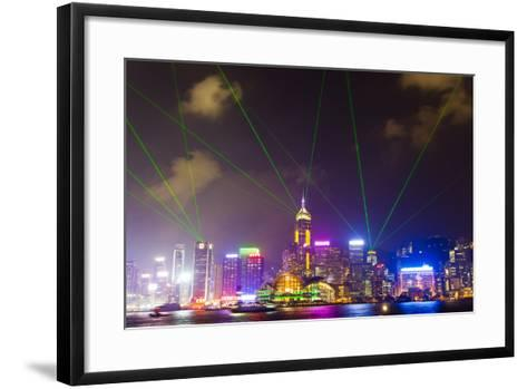The Symphony of Lights Light and Laser Show over Hong Kong-Mike Theiss-Framed Art Print