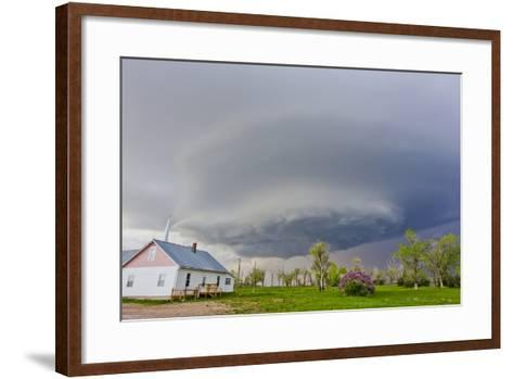 A Rotating Mesocyclone Supercell Thunderstorm Filling the Sky over a Small Church-Mike Theiss-Framed Art Print