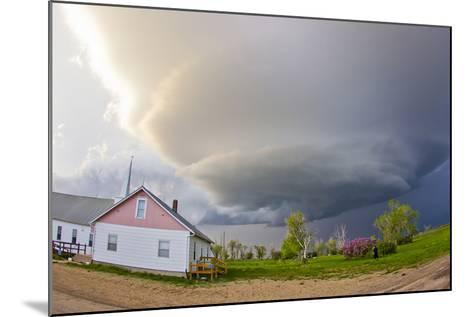 A Rotating Mesocyclone Supercell Thunderstorm Filling the Sky over a Small Church-Mike Theiss-Mounted Photographic Print