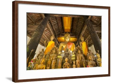 Buddha Statues Inside Wat Visoun, or Commonly known as That Makmo-Michael Melford-Framed Art Print