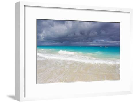 Storm Clouds Roll in over Turquoise Waters and a Beach-Mike Theiss-Framed Art Print