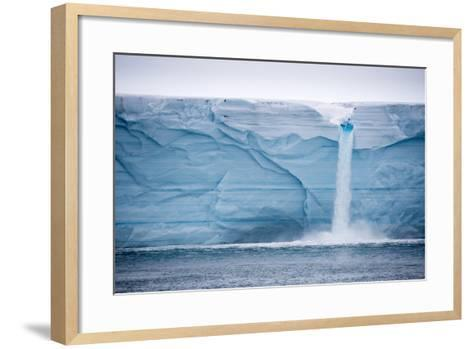 Meltwater Pours over an Ice Cliff from the Surface of the Nordaustlandet Ice Cap-Michael Melford-Framed Art Print