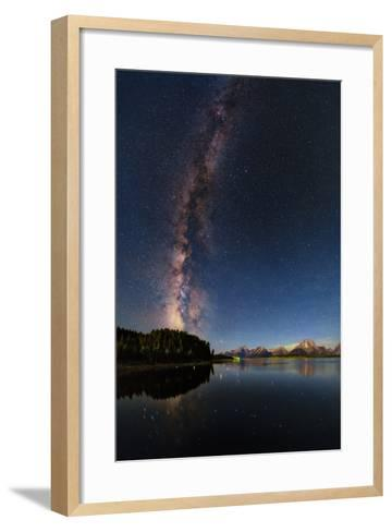 The Night Sky over the Grand Teton National Park and the Jackson Lake Dam-Babak Tafreshi-Framed Art Print