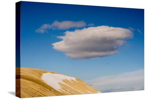 A Cloud in a Blue Sky Floats Above Palanderbukta-Michael Melford-Stretched Canvas Print