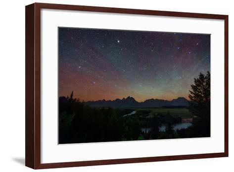 The Night Sky over the Grand Teton National Park and the Snake River-Babak Tafreshi-Framed Art Print