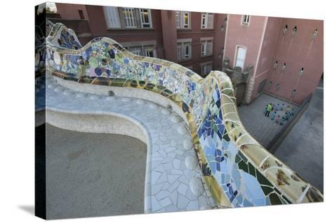 A Portion of Park Guell, Designed by Antoni Gaudi, and Overlooking Residential Apartment Buildings-Michael Melford-Stretched Canvas Print