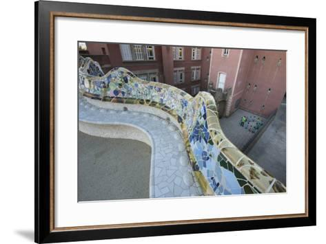 A Portion of Park Guell, Designed by Antoni Gaudi, and Overlooking Residential Apartment Buildings-Michael Melford-Framed Art Print
