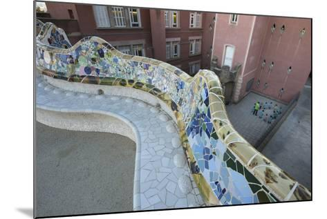 A Portion of Park Guell, Designed by Antoni Gaudi, and Overlooking Residential Apartment Buildings-Michael Melford-Mounted Photographic Print