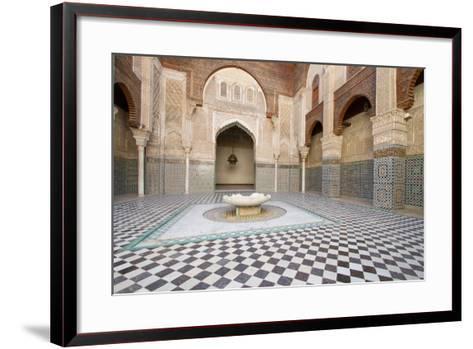 Ornate Islamic Tile Work and Relief Sculpture at Medersa Attarine-Erika Skogg-Framed Art Print
