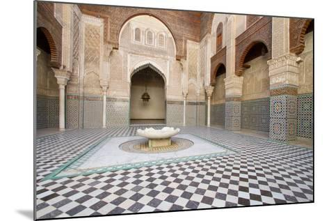 Ornate Islamic Tile Work and Relief Sculpture at Medersa Attarine-Erika Skogg-Mounted Photographic Print