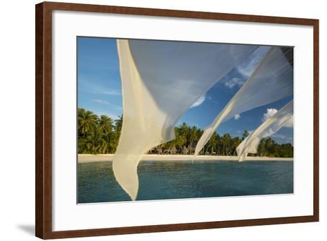 Diaphanous Curtains Flapping in the Breeze at a Resort in the Maldives-Michael Melford-Framed Art Print