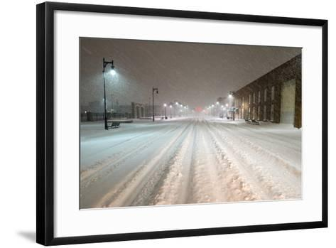 A Snowstorm Strikes a City in the Middle of the Night-Jim Reed-Framed Art Print