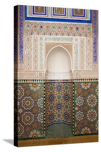 Intricate Tile Mosaics in an Alcove at the Mausoleum of Moulay Ismail-Erika Skogg-Stretched Canvas Print