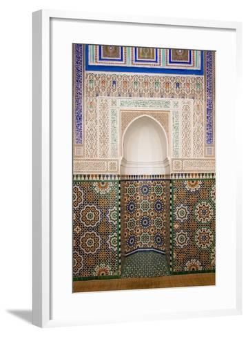 Intricate Tile Mosaics in an Alcove at the Mausoleum of Moulay Ismail-Erika Skogg-Framed Art Print