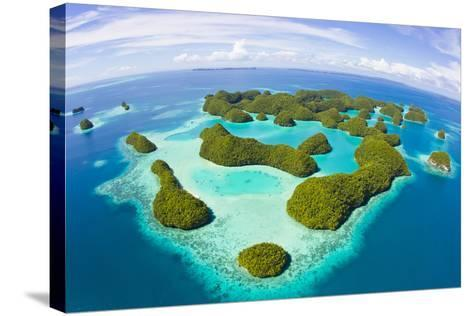 An Aerial Fisheye Lens View of Palau's Rock Islands in the Turquoise Waters of the Pacific Ocean-Mike Theiss-Stretched Canvas Print