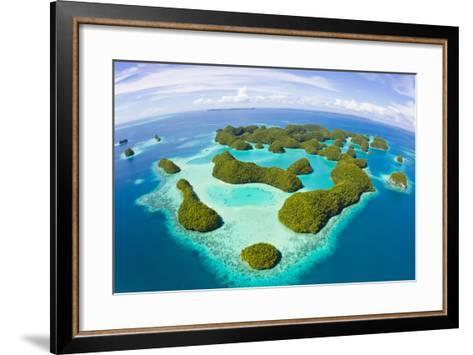 An Aerial Fisheye Lens View of Palau's Rock Islands in the Turquoise Waters of the Pacific Ocean-Mike Theiss-Framed Art Print