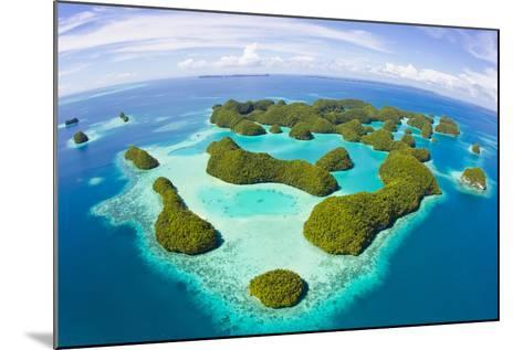 An Aerial Fisheye Lens View of Palau's Rock Islands in the Turquoise Waters of the Pacific Ocean-Mike Theiss-Mounted Photographic Print