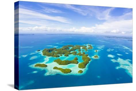 An Aerial View of Palau's Rock Islands in the Turquoise Waters of the Pacific Ocean-Mike Theiss-Stretched Canvas Print