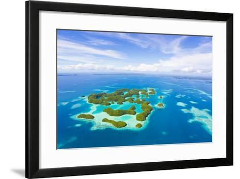 An Aerial View of Palau's Rock Islands in the Turquoise Waters of the Pacific Ocean-Mike Theiss-Framed Art Print