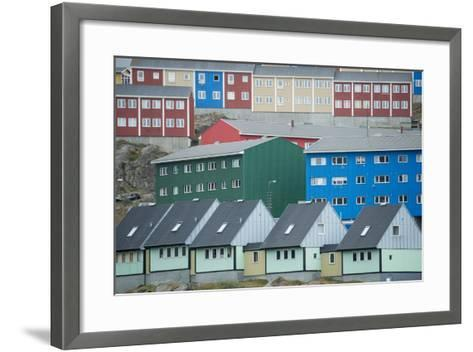 Buildings in Sisimiut Looking Like Stacked Up Toys-Michael Melford-Framed Art Print