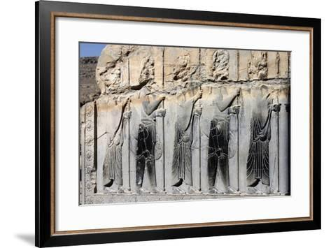 Bas-Relief of Persian Guards on a Wall in Persepolis-Babak Tafreshi-Framed Art Print